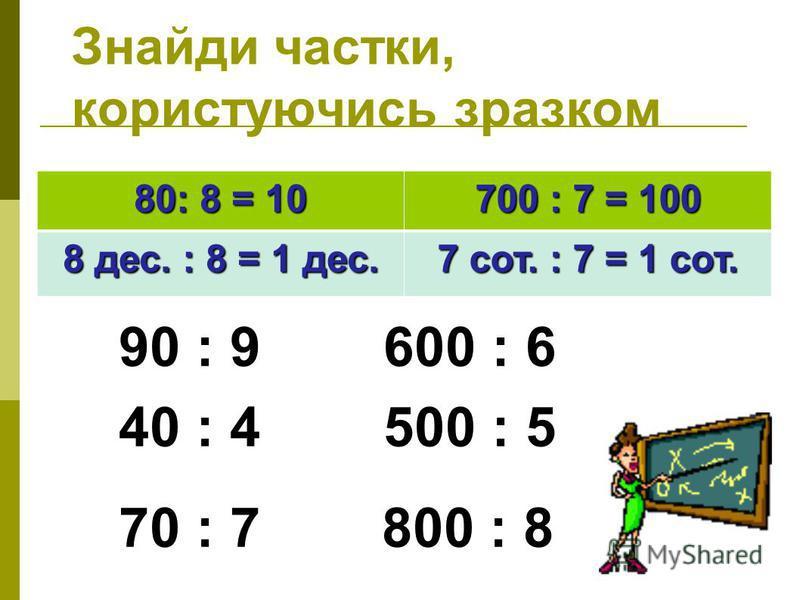 Знайди частки, користуючись зразком 80: 8 = 10 700 : 7 = 100 8 дес. : 8 = 1 дес. 7 сот. : 7 = 1 сот. 90 : 9 600 : 6 40 : 4 500 : 5 70 : 7 800 : 8