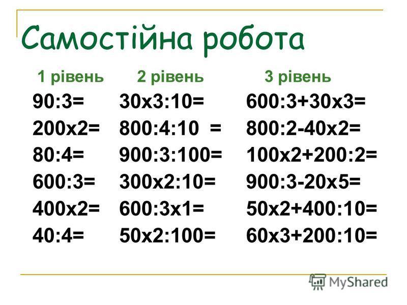 Самостійна робота 1 рівень2 рівень3 рівень 90:3=30х3:10=600:3+30х3= 200х2=800:4:10=800:2-40х2= 80:4=900:3:100=100х2+200:2= 600:3=300х2:10=900:3-20х5= 400х2=600:3х1=50х2+400:10= 40:4= 50х2:100=60х3+200:10=