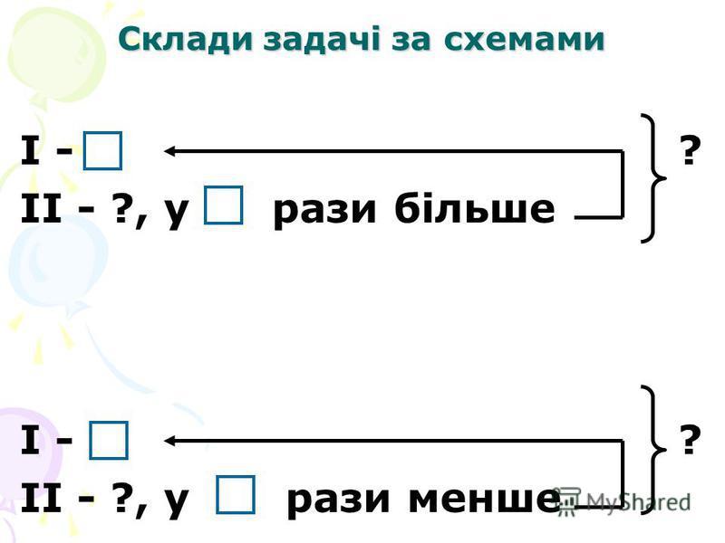 Склади задачі за схемами I - ? II - ?, у рази більше I - ? II - ?, у рази менше