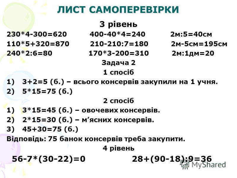 ЛИСТ САМОПЕРЕВІРКИ 3 рівень 230*4-300=620 400-40*4=240 2м:5=40см 110*5+320=870 210-210:7=180 2м-5см=195см 240*2:6=80 170*3-200=310 2м:1дм=20 Задача 2 1 спосіб 1)3+2=5 (б.) – всього консервів закупили на 1 учня. 2)5*15=75 (б.) 2 спосіб 1)3*15=45 (б.)