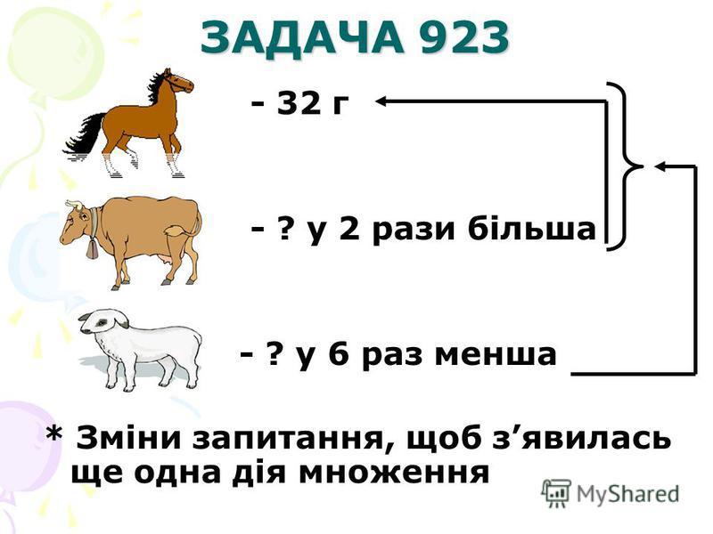 ЗАДАЧА 923 - 32 г - ? у 2 рази більша - ? у 6 раз менша * Зміни запитання, щоб зявилась ще одна дія множення