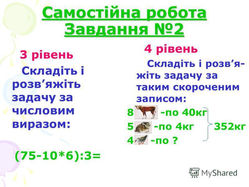 Самостійна робота Завдання 2 3 рівень Складіть і розвяжіть задачу за числовим виразом: (75-10*6):3= 4 рівень Складіть і розвя- жіть задачу за таким скороченим записом: 8 -по 40кг 5 -по 4кг 352кг 4 -по ?