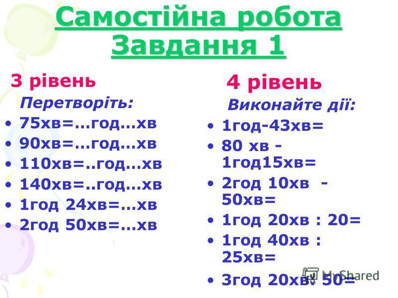 Самостійна робота Завдання 1 3 рівень Перетворіть: 75хв=…год…хв 90хв=…год…хв 110хв=..год…хв 140хв=..год…хв 1год 24хв=…хв 2год 50хв=…хв 4 рівень Виконайте дії: 1год-43хв= 80 хв - 1год15хв= 2год 10хв - 50хв= 1год 20хв : 20= 1год 40хв : 25хв= 3год 20хв:
