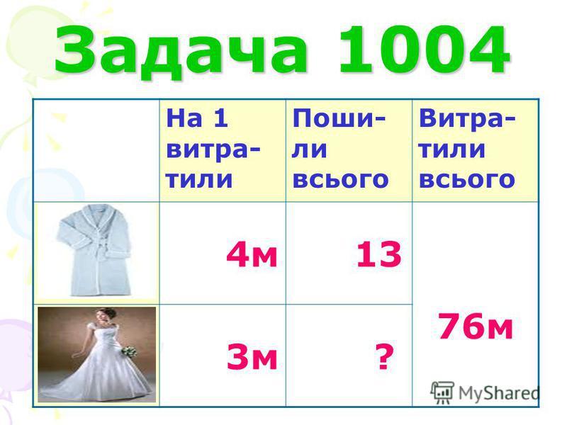 Задача 1004 На 1 витра- тили Поши- ли всього Витра- тили всього 4м 13 76м 3м ?