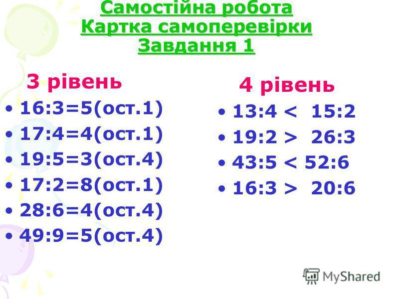 Самостійна робота Картка самоперевірки Завдання 1 3 рівень 16:3=5(ост.1) 17:4=4(ост.1) 19:5=3(ост.4) 17:2=8(ост.1) 28:6=4(ост.4) 49:9=5(ост.4) 4 рівень 13:4 < 15:2 19:2 > 26:3 43:5 < 52:6 16:3 > 20:6