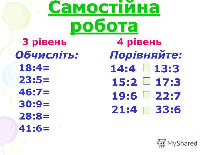 Самостійна робота 3 рівень Обчисліть: 18:4= 23:5= 46:7= 30:9= 28:8= 41:6= 4 рівень Порівняйте: 14:4 13:3 15:2 17:3 19:6 22:7 21:4 33:6