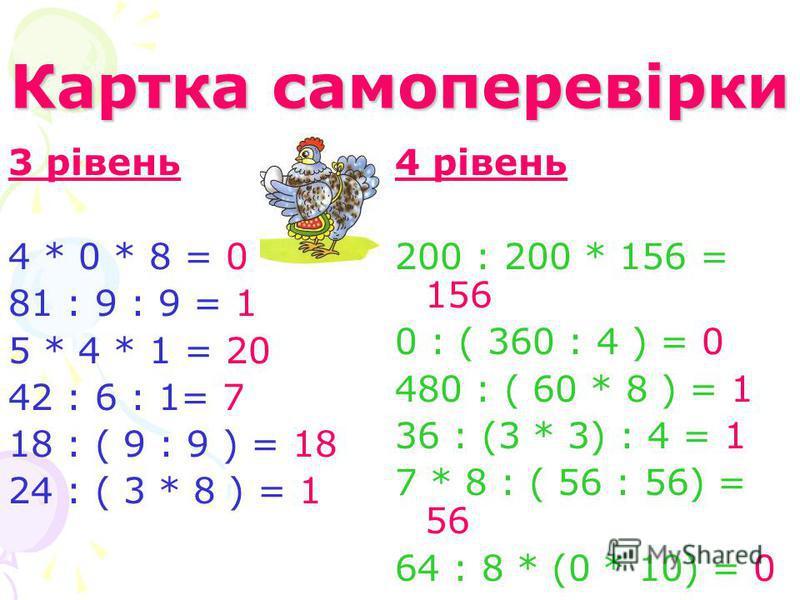 Картка самоперевірки 3 рівень 4 * 0 * 8 = 0 81 : 9 : 9 = 1 5 * 4 * 1 = 20 42 : 6 : 1= 7 18 : ( 9 : 9 ) = 18 24 : ( 3 * 8 ) = 1 4 рівень 200 : 200 * 156 = 156 0 : ( 360 : 4 ) = 0 480 : ( 60 * 8 ) = 1 36 : (3 * 3) : 4 = 1 7 * 8 : ( 56 : 56) = 56 64 : 8