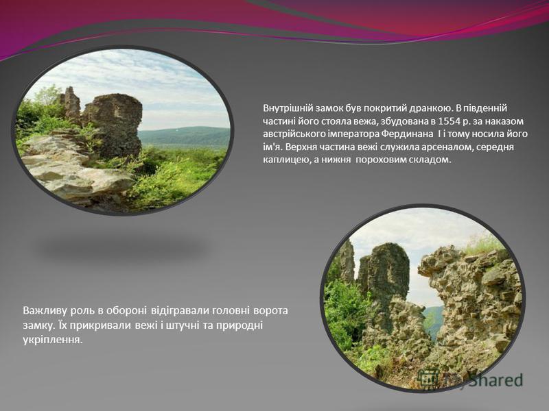 Важливу роль в обороні відігравали головні ворота замку. Їх прикривали вежі і штучні та природні укріплення. Внутрішній замок був покритий дранкою. В південній частині його стояла вежа, збудована в 1554 р. за наказом австрійського імператора Фердинан