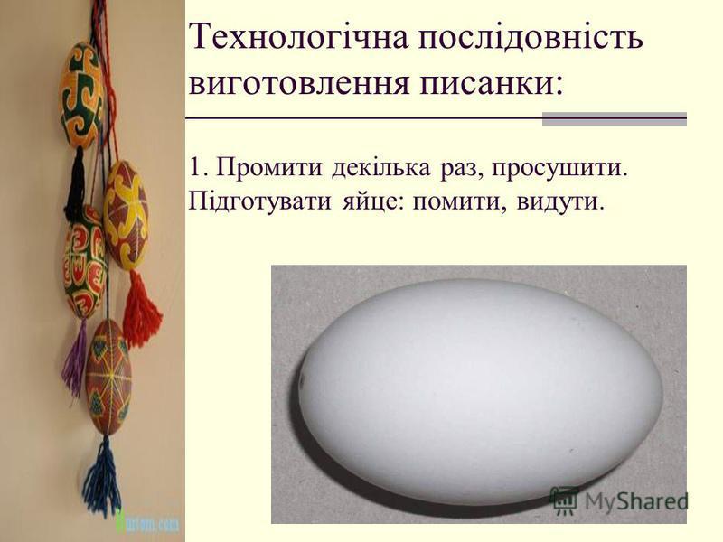 Технологічна послідовність виготовлення писанки: 1. Промити декілька раз, просушити. Підготувати яйце: помити, видути.
