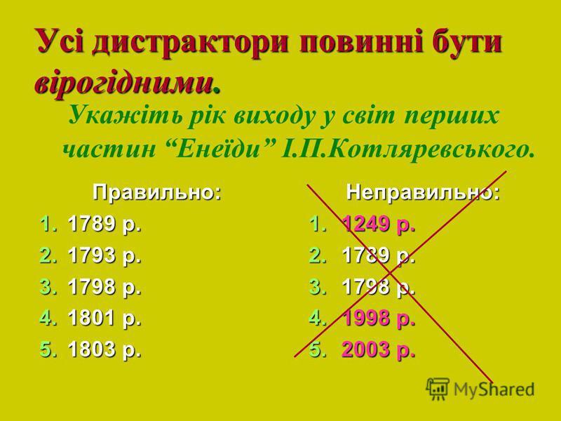 Усі дистрактори повинні бути вірогідними. Правильно: 1.1789 р. 2.1793 р. 3.1798 р. 4.1801 р. 5.1803 р. Укажіть рік виходу у світ перших частин Енеїди І.П.Котляревського. Неправильно: 1.1249 р. 2.1789 р. 3.1798 р. 4.1998 р. 5.2003 р.