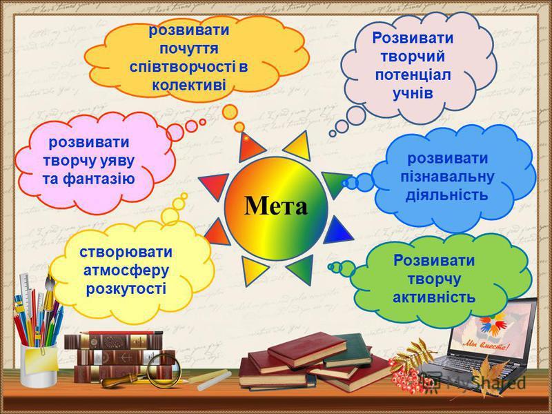 Мета Розвивати творчий потенціал учнів розвивати пізнавальну діяльність Розвивати творчу активність створювати атмосферу розкутості розвивати творчу уяву та фантазію розвивати почуття співтворчості в колективі
