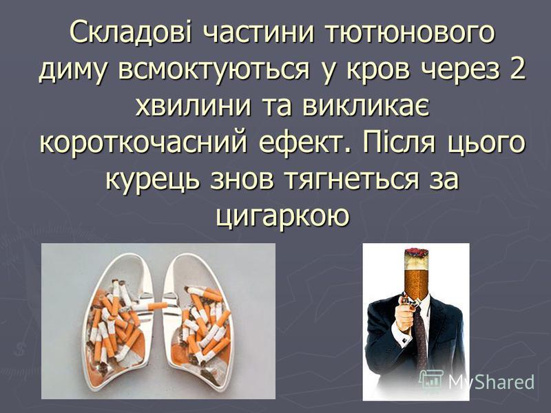 Складові частини тютюнового диму всмоктуються у кров через 2 хвилини та викликає короткочасний ефект. Після цього курець знов тягнеться за цигаркою