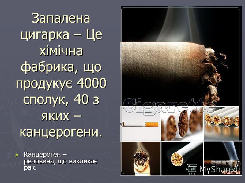 Запалена цигарка – Це хімічна фабрика, що продукує 4000 сполук, 40 з яких – канцерогени. Канцероген – речовина, що викликає рак. Канцероген – речовина, що викликає рак.
