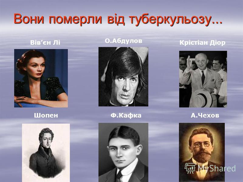 Вони померли від туберкульозу... О.Абдулов Вівєн ЛіКрістіан Діор ШопенФ.КафкаА.Чехов
