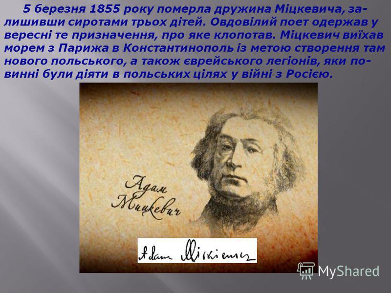 Під час Кримської війни (1854-1856) надії Міцкевича знову ожили; він очікував, що війна з Росією поставить на чергу польське питання, і запропонував свої послуги фран- цузькому уряду для вченої місії на Схід.