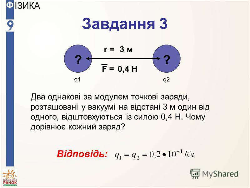Завдання 3 Два однакові за модулем точкові заряди, розташовані у вакуумі на відстані 3 м один від одного, відштовхуються із силою 0,4 Н. Чому дорівнює кожний заряд? ? q1q2q2 0,4 НF = ? 3 мr = Відповідь: