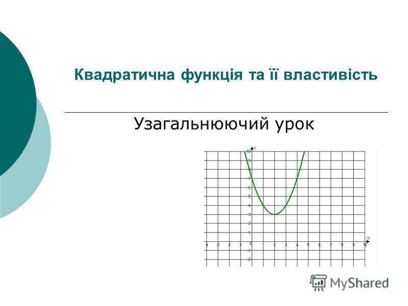 Квадратична функція та її властивість Узагальнюючий урок