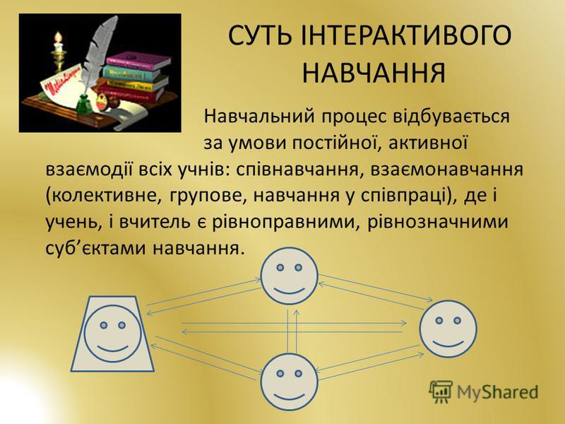 СУТЬ ІНТЕРАКТИВОГО НАВЧАННЯ Навчальний процес відбувається за умови постійної, активної взаємодії всіх учнів: співнавчання, взаємонавчання (колективне, групове, навчання у співпраці), де і учень, і вчитель є рівноправними, рівнозначними субєктами нав