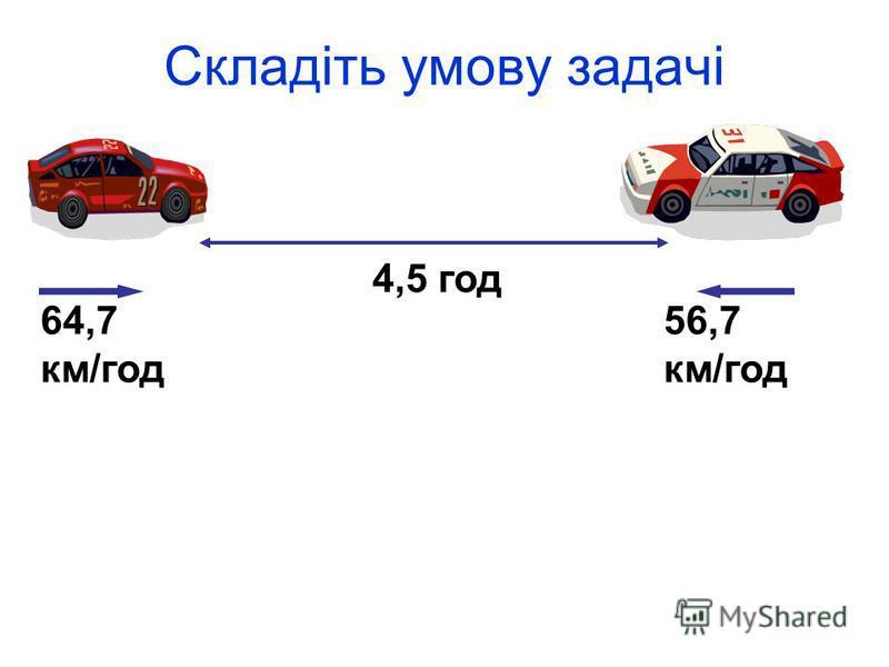 Складіть умову задачі 64,7 км/год 56,7 км/год 4,5 год