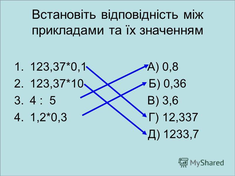 Встановіть відповідність між прикладами та їх значенням 1.123,37*0,1 А) 0,8 2.123,37*10 Б) 0,36 3.4 : 5 В) 3,6 4.1,2*0,3 Г) 12,337 Д) 1233,7