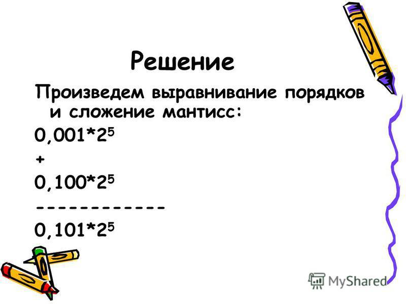 Упражнение 6 Произвести сложение чисел 0,1*2 3 и 0,1*2 5