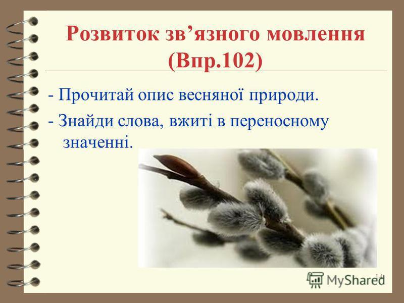 Розвиток звязного мовлення (Впр.102) - Прочитай опис весняної природи. - Знайди слова, вжиті в переносному значенні. 14