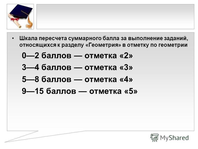 Шкала пересчета суммарного балла за выполнение заданий, относящихся к разделу «Геометрия» в отметку по геометрии 02 баллов отметка «2» 34 баллов отметка «3» 58 баллов отметка «4» 915 баллов отметка «5»