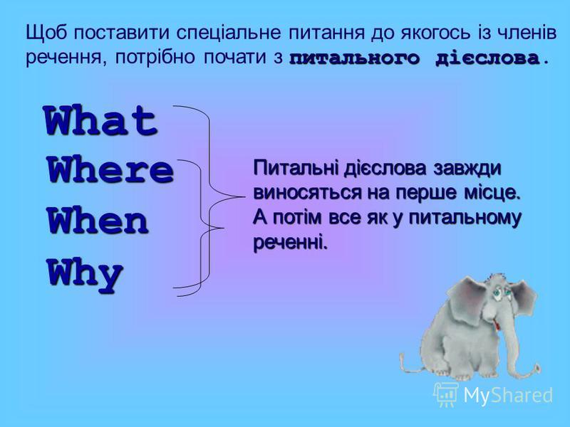 Щоб поставити спеціальне питання до якогось із членів речення, потрібно почати з п пп питального дієслова. Where When Why What Питальні дієслова завжди виносяться на перше місце. А потім все як у питальному реченні. I done ? have I have done it.