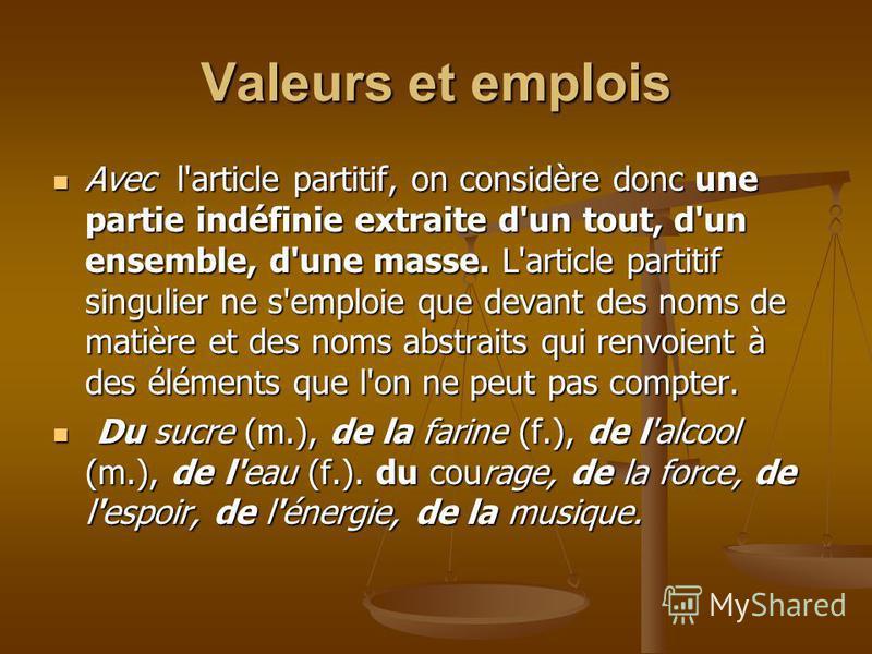 Formes Singulier Singulier (masc.)un du (masc.)un du du pain (fém.) une de la (fém.) une de la de la patience de la patience de l' + voyelle (masc/fém.,) de l'amour ; de lhuile de l' + voyelle (masc/fém.,) de l'amour ; de lhuile