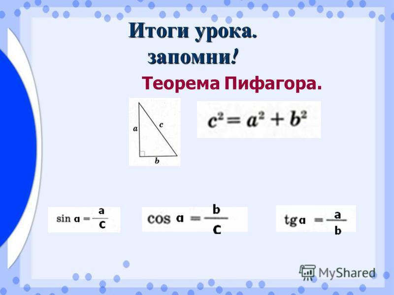Итоги урока. запомни ! Теорема Пифагора.