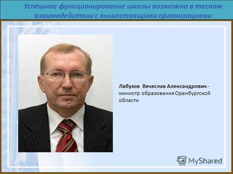 Успешное функционирование школы возможно в тесном взаимодействии с вышестоящими организациями Лабузов Вячеслав Александрович - министр образования Оренбургской области