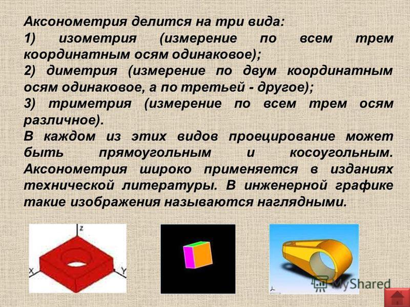 Аксонометрия делится на три вида: 1) изометрия (измерение по всем трем координатным осям одинаковое); 2) диметрия (измерение по двум координатным осям одинаковое, а по третьей - другое); 3) триметрия (измерение по всем трем осям различное). В каждом