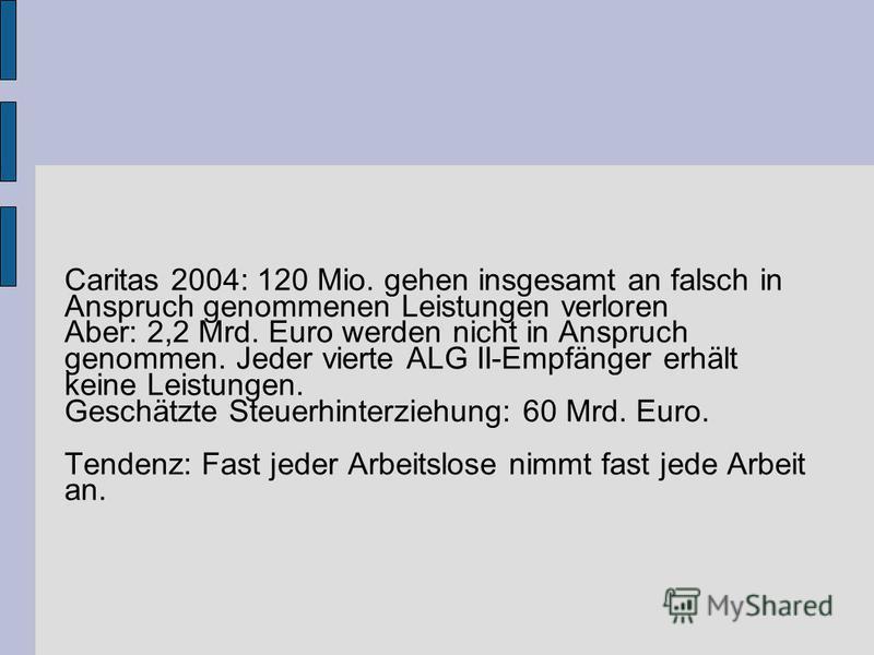 Caritas 2004: 120 Mio. gehen insgesamt an falsch in Anspruch genommenen Leistungen verloren Aber: 2,2 Mrd. Euro werden nicht in Anspruch genommen. Jeder vierte ALG II-Empfänger erhält keine Leistungen. Geschätzte Steuerhinterziehung: 60 Mrd. Euro. Te