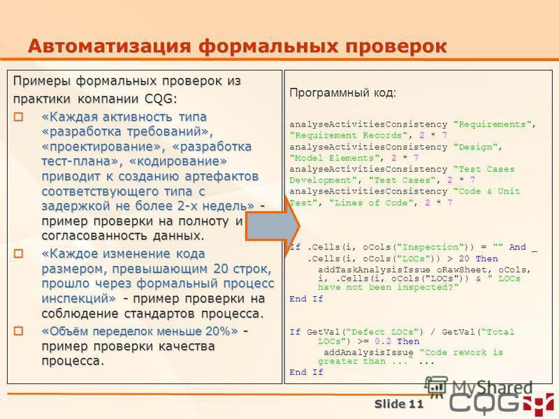 Автоматизация формальных проверок Программный код: analyseActivitiesConsistency