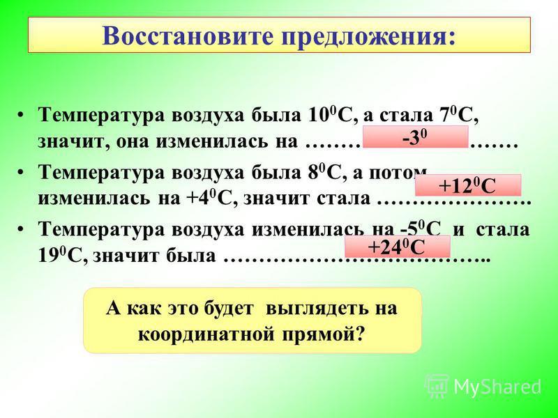 Восстановите предложения: Температура воздуха была 10 0 С, а стала 7 0 С, значит, она изменилась на ………………………… Температура воздуха была 8 0 С, а потом изменилась на +4 0 С, значит стала …………………. Температура воздуха изменилась на -5 0 С и стала 19 0 С