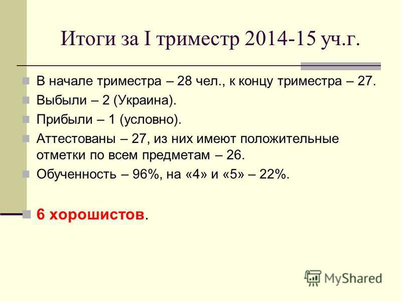 Итоги за I триместр 2014-15 уч.г. В начале триместра – 28 чел., к концу триместра – 27. Выбыли – 2 (Украина). Прибыли – 1 (условно). Аттестованы – 27, из них имеют положительные отметки по всем предметам – 26. Обученность – 96%, на «4» и «5» – 22%. 6