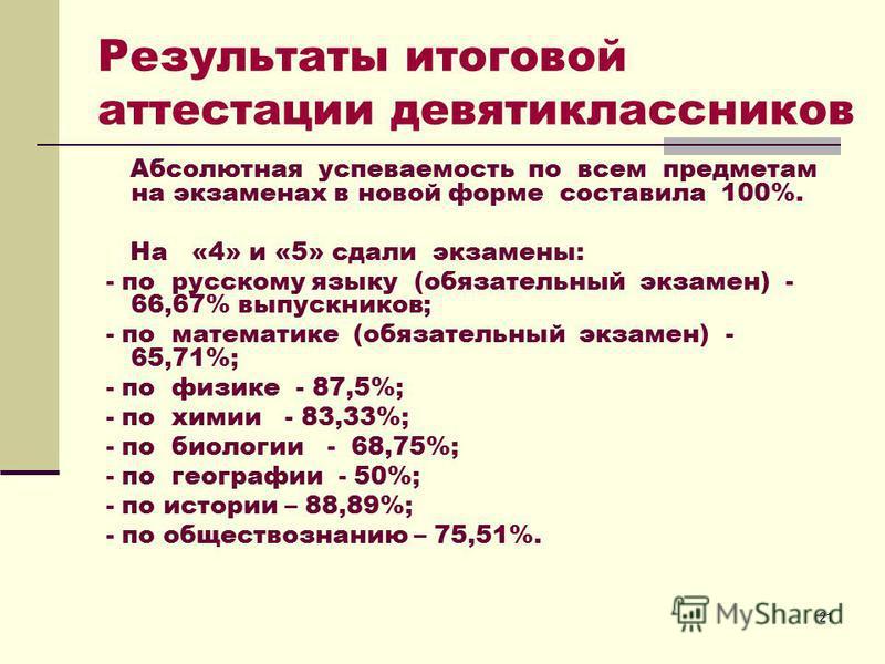 21 Результаты итоговой аттестации девятиклассников Абсолютная успеваемость по всем предметам на экзаменах в новой форме составила 100%. На «4» и «5» сдали экзамены: - по русскому языку (обязательный экзамен) - 66,67% выпускников; - по математике (обя