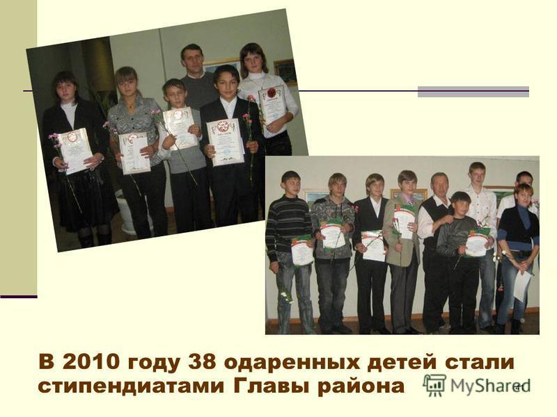 41 В 2010 году 38 одаренных детей стали стипендиатами Главы района