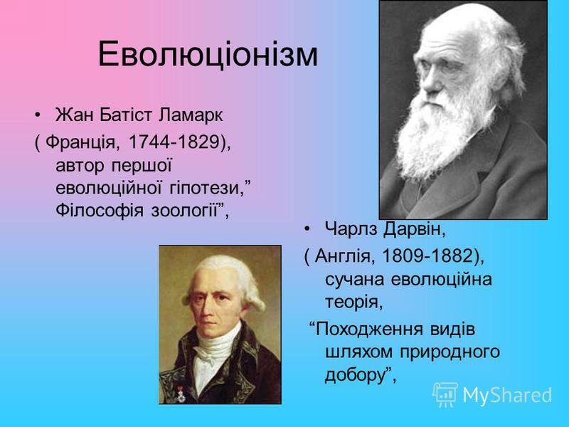 Еволюціонізм Жан Батіст Ламарк ( Франція, 1744-1829), автор першої еволюційної гіпотези, Філософія зоології, Чарлз Дарвін, ( Англія, 1809-1882), сучана еволюційна теорія, Походження видів шляхом природного добору,