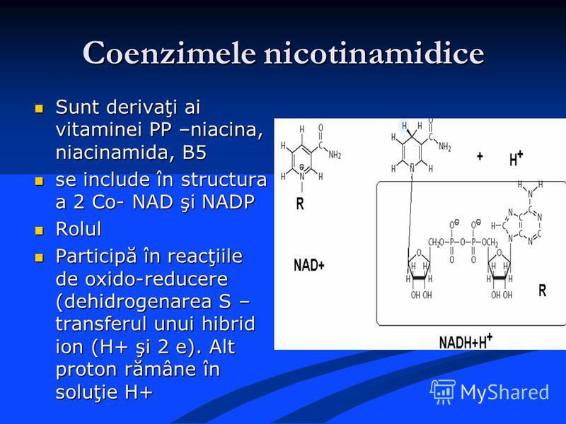 Coenzimele nicotinamidice Sunt derivaţi ai vitaminei PP –niacina, niacinamida, B5 Sunt derivaţi ai vitaminei PP –niacina, niacinamida, B5 se include în structura a 2 Co- NAD şi NADP se include în structura a 2 Co- NAD şi NADP Rolul Rolul Participă în