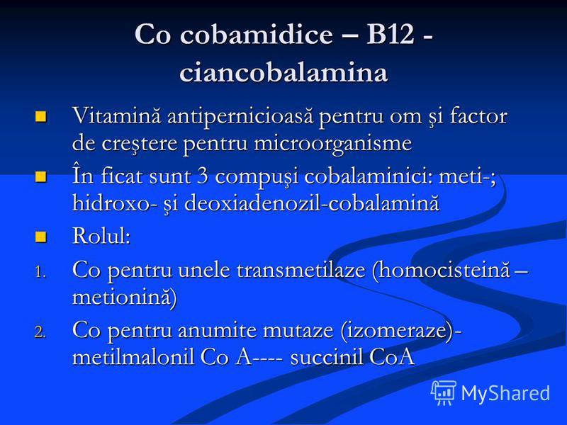 Co cobamidice – B12 - ciancobalamina Vitamină antipernicioasă pentru om şi factor de creştere pentru microorganisme Vitamină antipernicioasă pentru om şi factor de creştere pentru microorganisme În ficat sunt 3 compuşi cobalaminici: meti-; hidroxo- ş