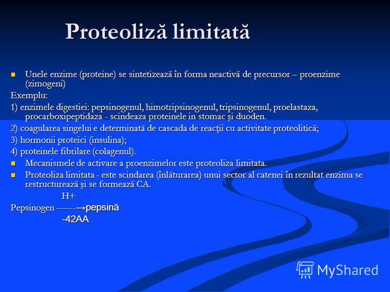 Proteoliză limitată Unele enzime (proteine) se sintetizează în forma neactivă de precursor – proenzime (zimogeni) Unele enzime (proteine) se sintetizează în forma neactivă de precursor – proenzime (zimogeni)Exemplu: 1) enzimele digestiei: pepsinogenu