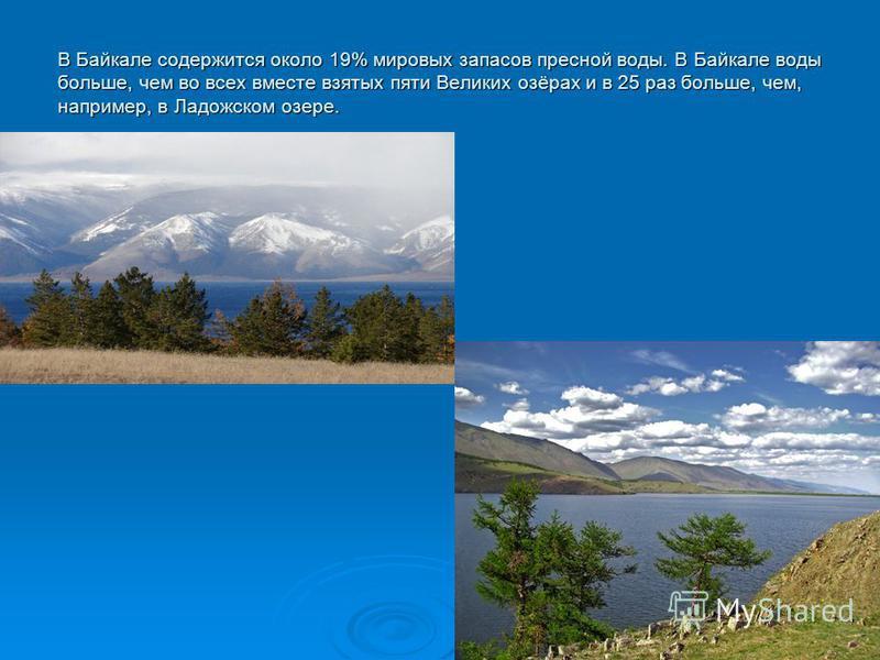 В Байкале содержится около 19% мировых запасов пресной воды. В Байкале воды больше, чем во всех вместе взятых пяти Великих озёрах и в 25 раз больше, чем, например, в Ладожском озере.