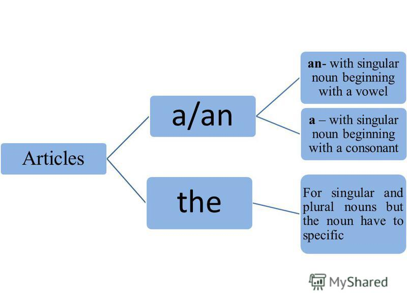 Articles a/an an- with singular noun beginning with a vowel a – with singular noun beginning with a consonant the For singular and plural nouns but the noun have to specific