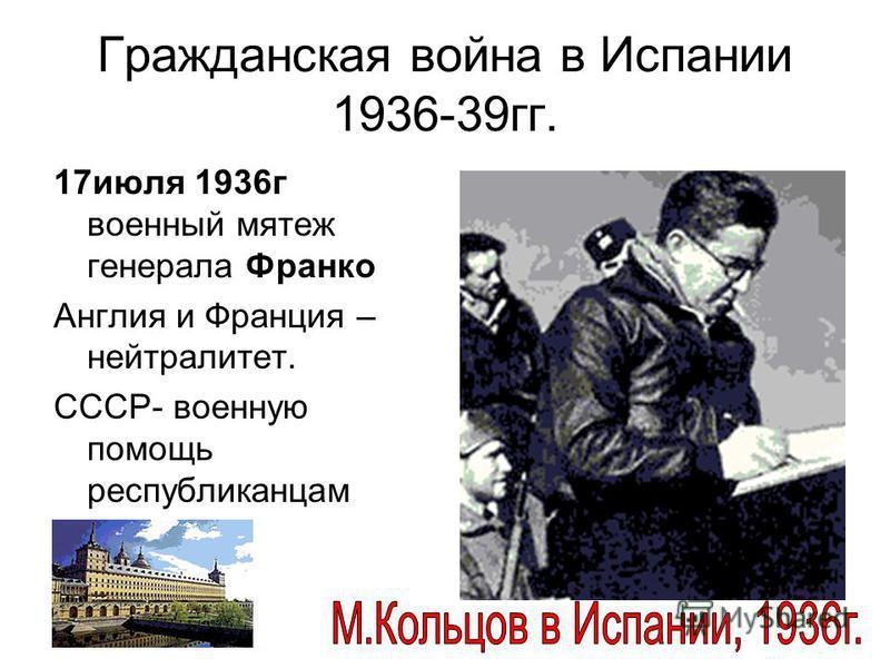 Гражданская война в Испании 1936-39 гг. 17 июля 1936 г военный мятеж генерала Франко Англия и Франция – нейтралитет. СССР- военную помощь республиканцам