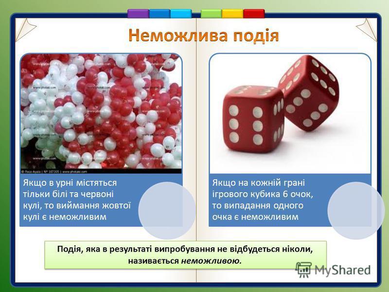 Якщо в урні містяться тільки білі та червоні кулі, то виймання жовтої кулі є неможливим Якщо на кожній грані ігрового кубика 6 очок, то випадання одного очка є неможливим Подія, яка в результаті випробування не відбудеться ніколи, називається неможли