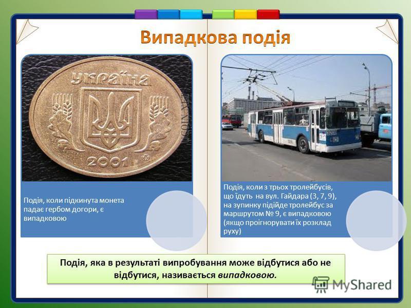 Подія, коли підкинута монета падає гербом догори, є випадковою Подія, коли з трьох тролейбусів, що їдуть на вул. Гайдара (3, 7, 9), на зупинку підійде тролейбус за маршрутом 9, є випадковою (якщо проігнорувати їх розклад руху) Подія, яка в результаті
