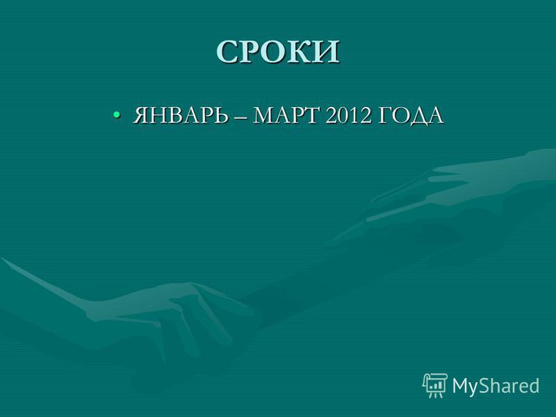 СРОКИ ЯНВАРЬ – МАРТ 2012 ГОДАЯНВАРЬ – МАРТ 2012 ГОДА
