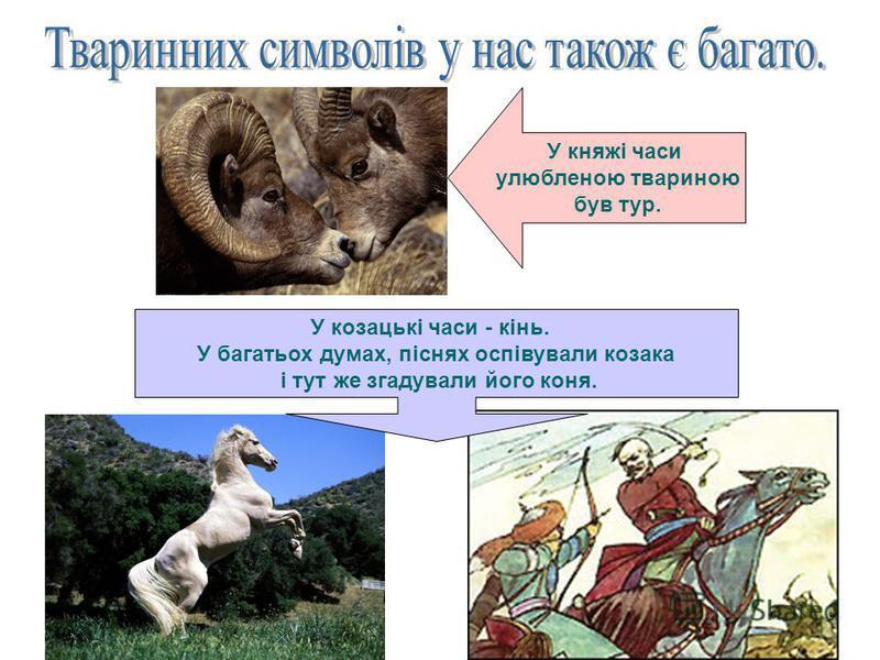 У княжі часи улюбленою твариною був тур. У козацькі часи - кінь. У багатьох думах, піснях оспівували козака і тут же згадували його коня.