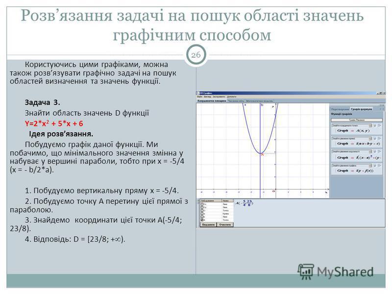 Розвязання задачі на пошук області значень графічним способом 26 Користуючись цими графіками, можна також розвязувати графічно задачі на пошук областей визначення та значень функції. Задача 3. Знайти область значень D функції Y=2*x 2 + 5*x + 6 Ідея р